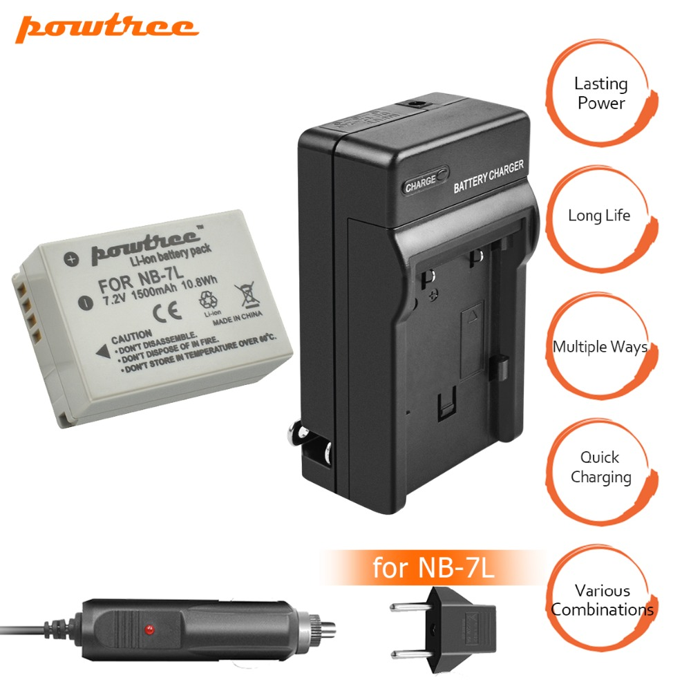 1Packs 7 2V 1500mAh NB 7L NB7L NB 7L Li ion Battery Battery Charger Car charger For Canon PowerShot G10 G11 G12 SX30 E1011C L10 in Digital Batteries from Consumer Electronics