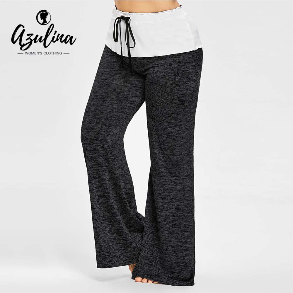 AZULINA High Waisted Plus Size   Wide   Legged   Pants   Women Casual Loose Drawstring   Wide     Leg     Pants   Trousers 2018 Skinny   Pant   Big Size