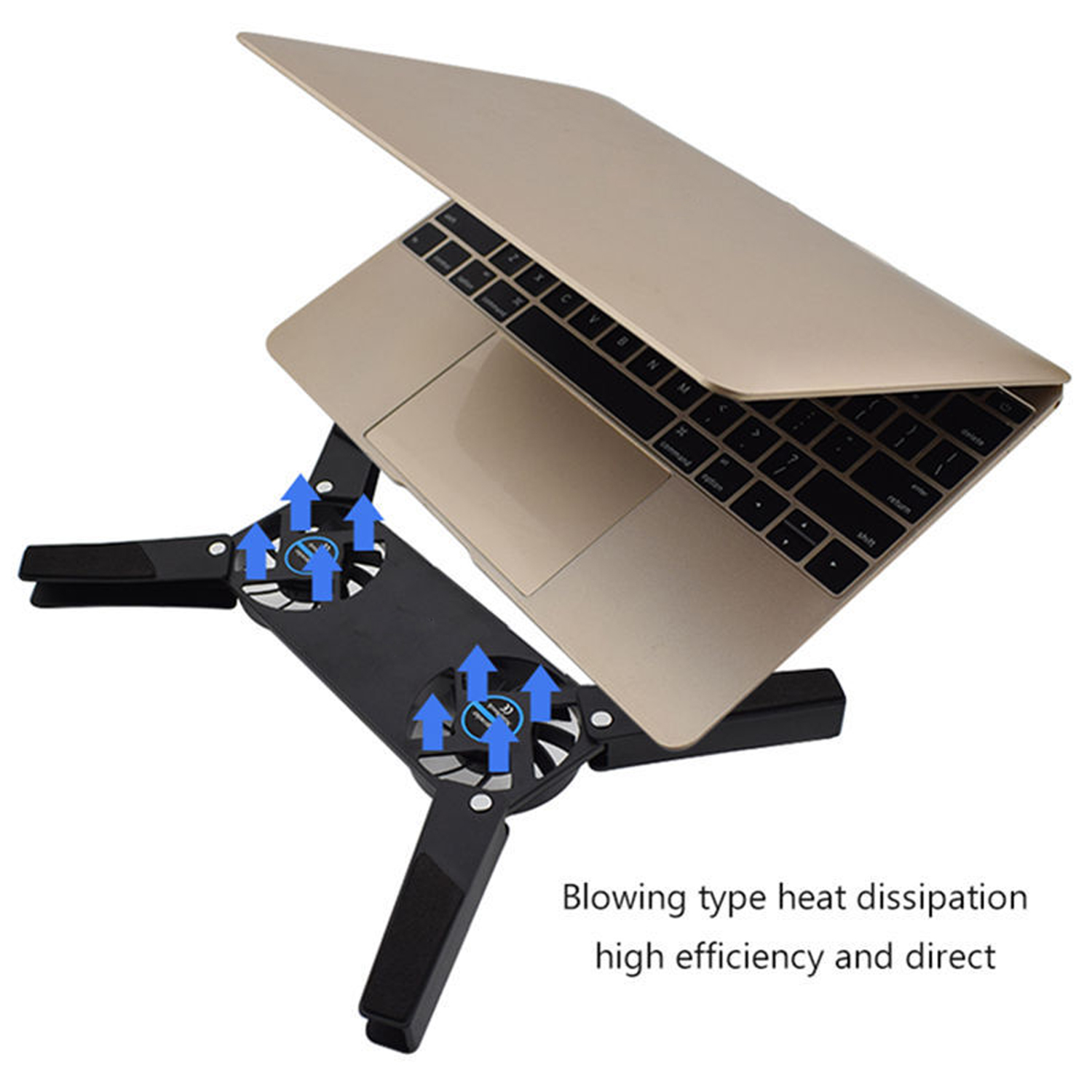 Besegad Foldable USB Notebook Laptop Stand And Cooling Pad With Double Fans 7