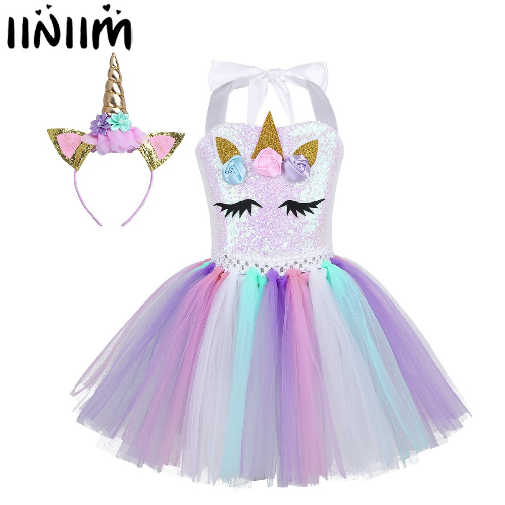 Kids Girls Cartoon Flowers Tutu Dress Shiny Sequins Fancy Dress with Hair Hoop Halloween Cosplay Party Costume Dress Up