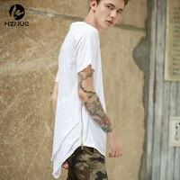 HZIJUE Glissière Latérale Homme Étendu Mens Hip Hop Hiphop Butin Long Casual T-shirt Top T-shirts Justin Bieber Style Vêtir Vêtements KANYE