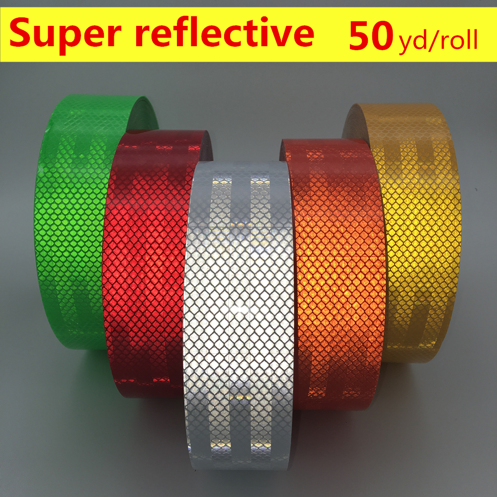 2 * 50 yd High Visibility car body stickers Truck Safety Warning tape car styling accessories Super reflective adhesive strips 16 strips motorcycle accessories 7 colors car styling decals 17 or 18 inch car stickers wheel rim sticker reflective tape