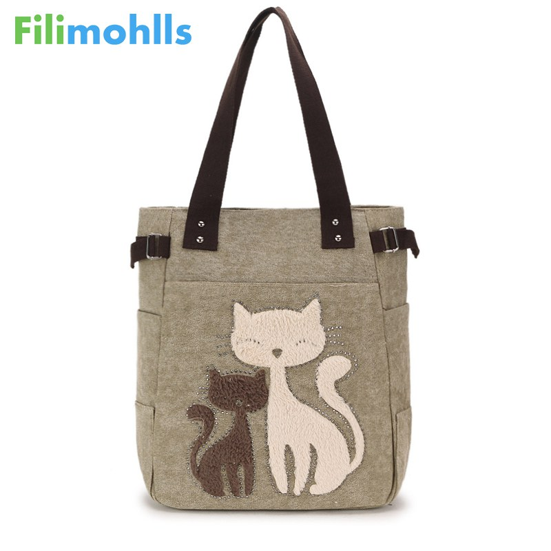 Female Printing Cat Canvas Handbag Ladies Large Capacity Casual Totes Bag Female Famous Brand Handbags Women Shoulder Bags S1302 high quality travel canvas women handbag casual large capacity hobos bag hot sell female totes bolsas ruched solid shoulder bag