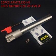 10PCS APMT1135 H2 + 1PCS 20mm Milling cutter holder BAP300R C20-20-150L-2F face mill Roughing Working P M K