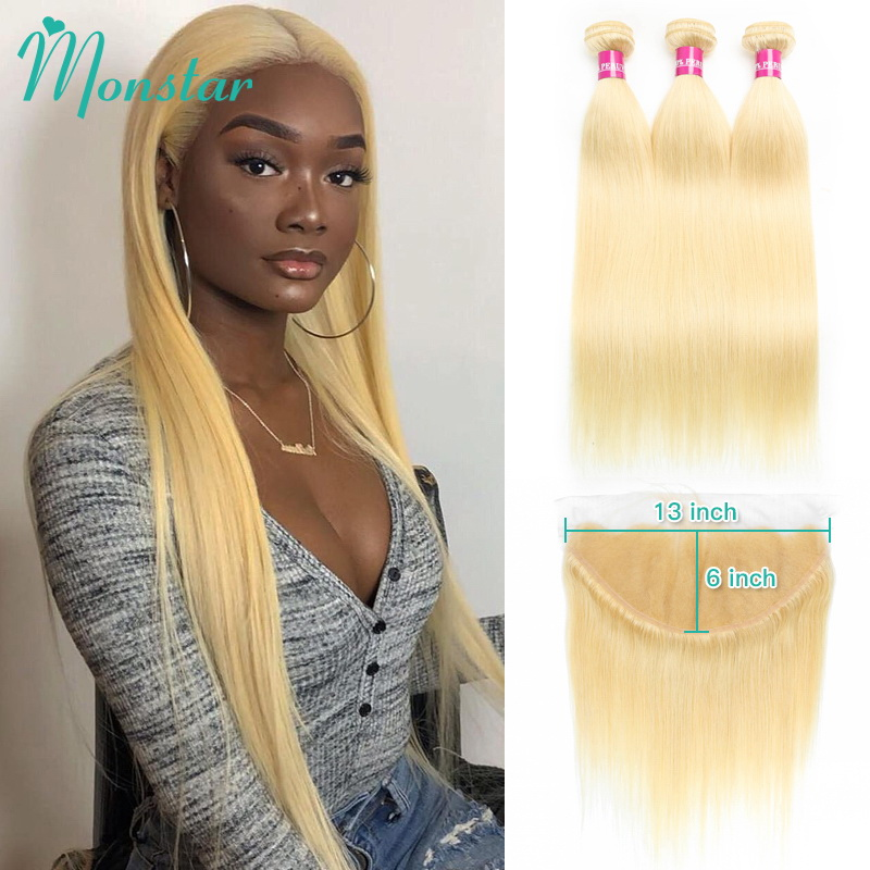 Monstar Blonde Bundles With Frontal Peruvian Straight Remy Human Hair Extensions 8 30 Inch 613 Bundles