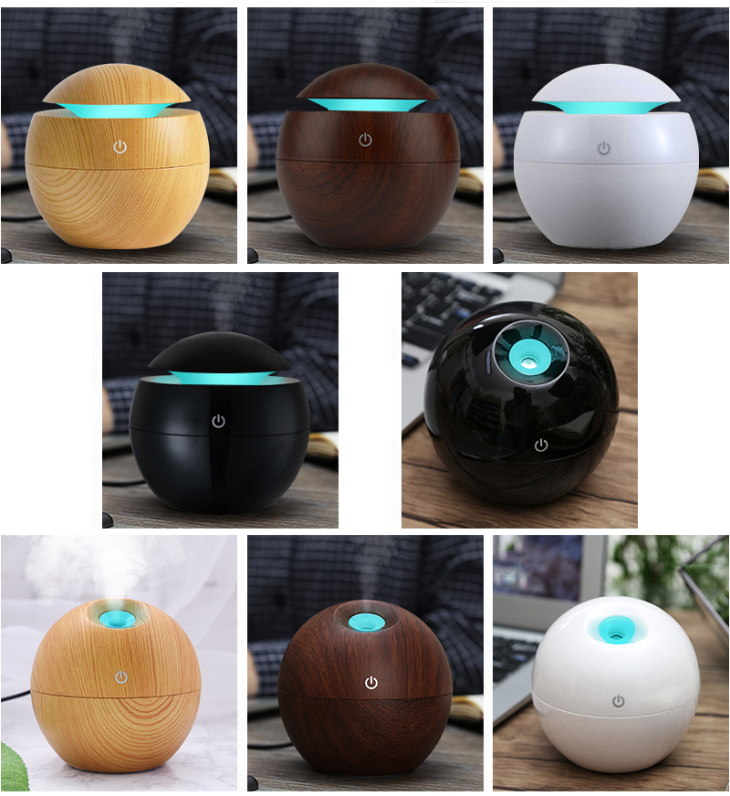 Mini Wooden Aromatherapy Humidifier Aroma Diffuser Essential Oil Diffuser Air Purifier Farge Endring LED Touch Switch