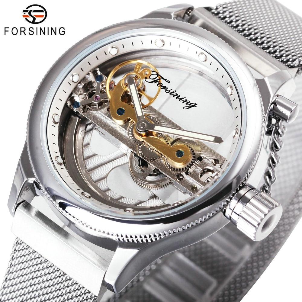 FORSINING Men Classic Golden Bridge Mechanical Watch Magnet Mesh Strap Silver Chain Crown Unique Design Fashion Wrist watches