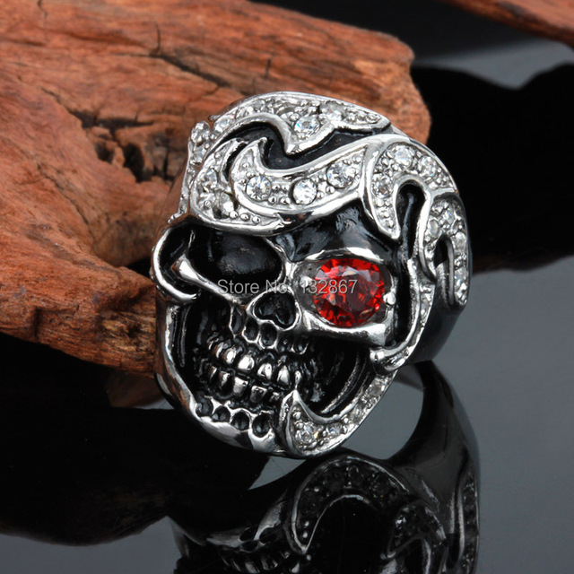 b450cf53ced2a US $9.19 8% OFF|Christmas 316L Stainless Steel Men's Skull Harley Biker  Jewelry Ring Red Crystal Great Jewelry Gifts For Husband .Father-in Rings  from ...