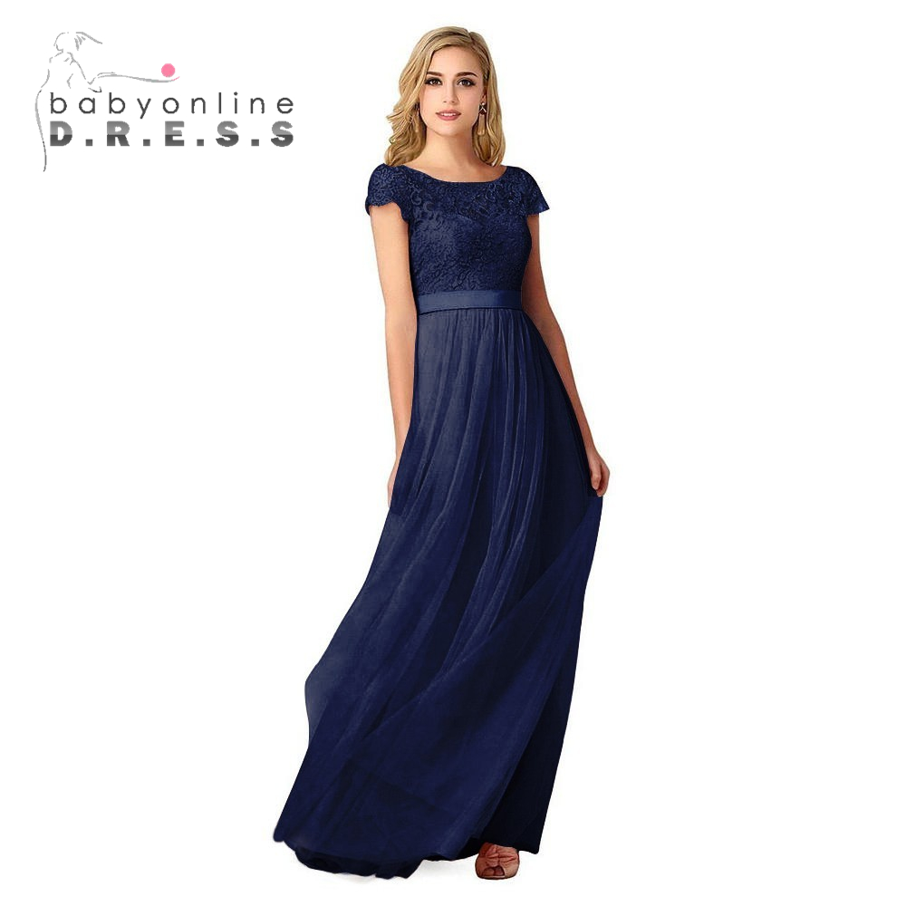 Popular blue dress bridesmaids buy cheap blue dress bridesmaids 5 colors cheap lace navy blue bridesmaid dresses long 2017 short sleeve burgundy tulle wedding party ombrellifo Images