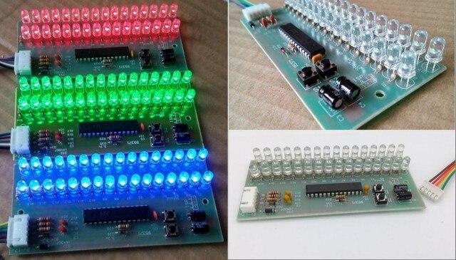 RGB Color MCU Có Thể Điều Chỉnh Mô Hình Hiển Thị LED Mức VU Chỉ Số 16 LED Kép Kênh miễn phí vận chuyển