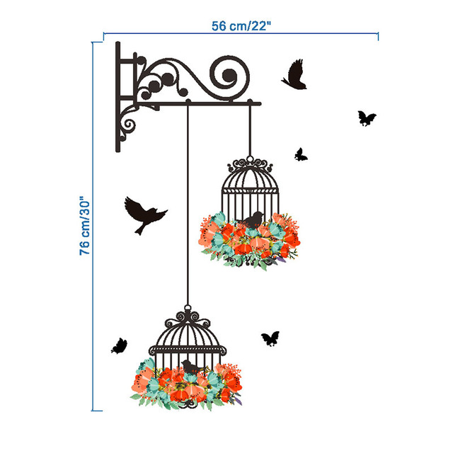 Birdcages and Flowers Wall Sticker