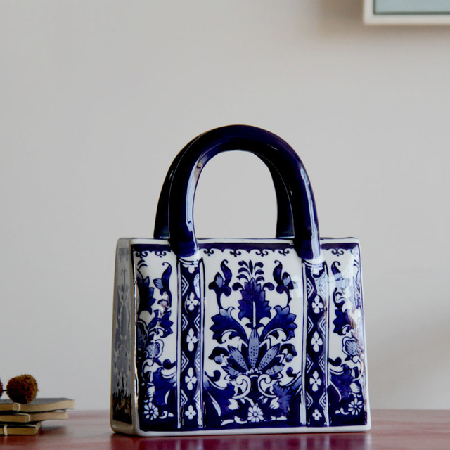 Chinese Style Blue And White Ceramic Handbag Shape Vase Porcelain Vases For Artificial Flower