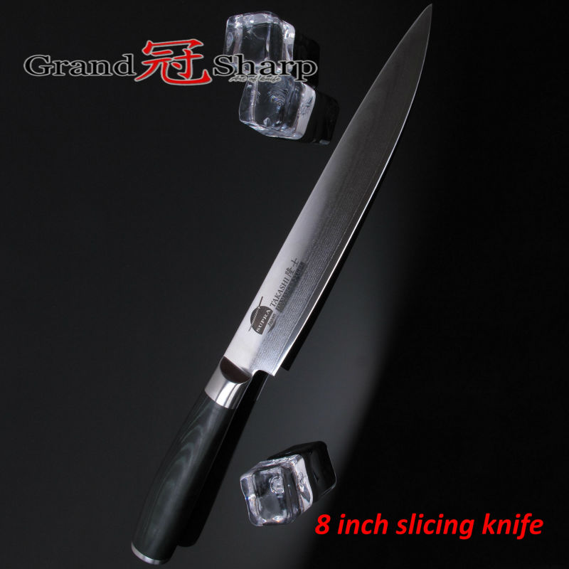 Grandsharp 8 Inch Slicing Carving font b Knife b font 67 Layers Japanese Damascus Stainless Steel