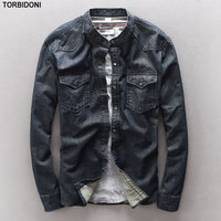 New Arrival Men S Denim Shirt Stand Collar Camisa Masculina High Quality Brand Clothing Long Sleeve