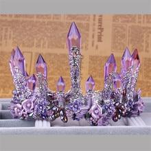 Vintage Paars Crystal Queen Koning Wedding Noble Crown Tiara Bruid Prom Bloem Perfect Coronas Hoofdtooi Vrouwen Sieraden Accessoire