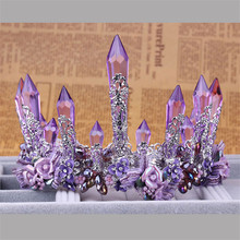 Vintage Purple Crystal Queen King Wedding Noble Crown Tiara Bride Prom Flower Perfect Coronas Headdress Women Jewelry Accessory