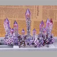 Vintage Purple Crystal Queen King Wedding Noble Crown Tiara Bride Prom Flower Perfect Coronas Headdress Women Jewelry Accessory