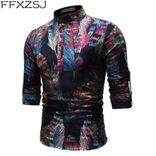 national style high quality autumn printed long sleeve casual mens linen shirt stand collar suit floral European size