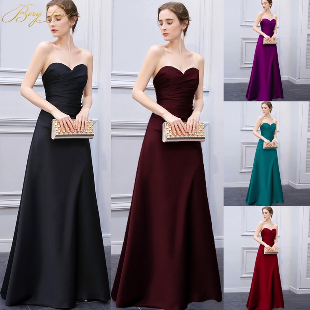 BeryLove chérie noir Satin robe de soirée 2019 longues femmes pli Simple élégante robe formelle robe de bal robe vestidos de noche