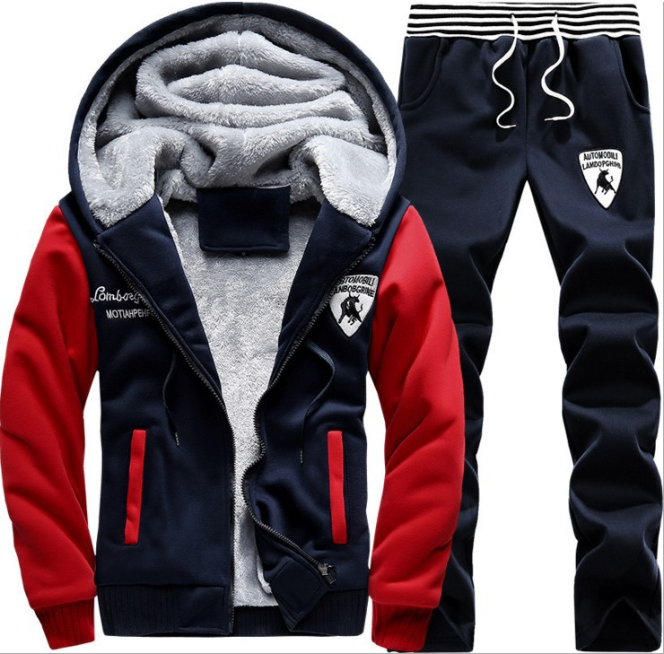 Mens Fleece and Thickened Sanitary Clothes Suit hooded cardigan 5XL Large Leisure Sports Coat