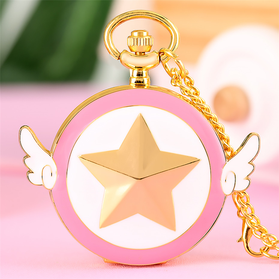 Golden Star Full Hunter Quartz Pocket Watch Lovely Wings Necklace Watches Arabic Numerals Display Pendant Clock Gifts For Kids