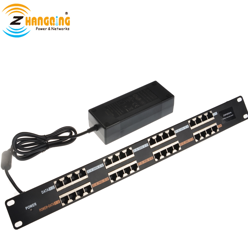 Passive 16port 100Mbps PoE Injector PoE Patch Panel Including 48V 120W Power Adapter For IP/CCTV Camera, IP Phone, APPassive 16port 100Mbps PoE Injector PoE Patch Panel Including 48V 120W Power Adapter For IP/CCTV Camera, IP Phone, AP