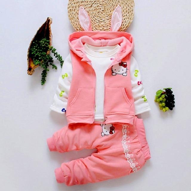 bibihou girls clothes suit rabbit Cartoon hello KT Set 3pcs/set  baby clothes T Shirts Pants Children boy Sport Set Kids Clothes