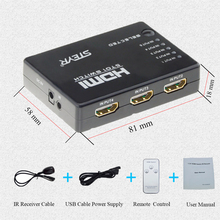 STERY HDMI  5 Ports 1080P Video HDMI Switch Switcher HDMI Splitter with IR Remote splitter box for HDTV DVD PS3