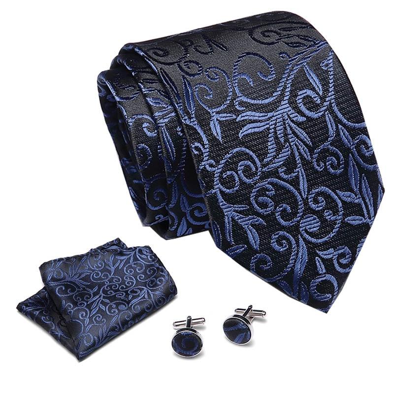 Free Shipping Mens Ties 2018 Luxury Paisley Blue Silk Tie With Hanky Tie Set Cufflinks Buisness Jacquard Woven Neck Tie