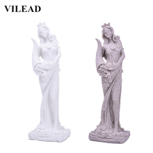 VILEAD Sandstone Goddess of Wealth Figurines Creative Miniatures White Statuettes Vintage Home Decor Souvenirs