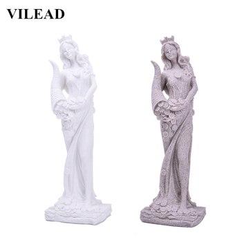 VILEAD Sandstone Statue of Fortune Wealth Figurines Creative Goddess Miniature White Statuette Vintage Home Decor Souvenirs