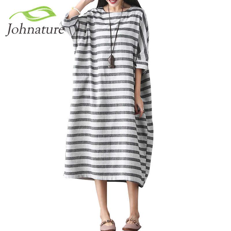 Женское платье в полоску с рукавами «летучая мышь» из хлопка и льна, осень 0d57b4d4662