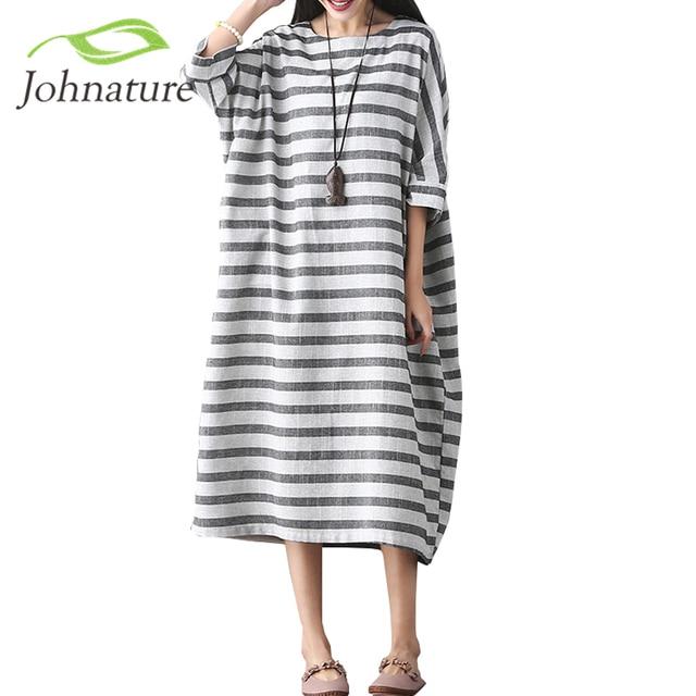 aaca6ec9e09 Johnature Women Striped Dress Bat Sleeve Cotton Linen 2019 Autumn New  Casual Women Clothes Loose O-Neck Vintage Dresses Brief