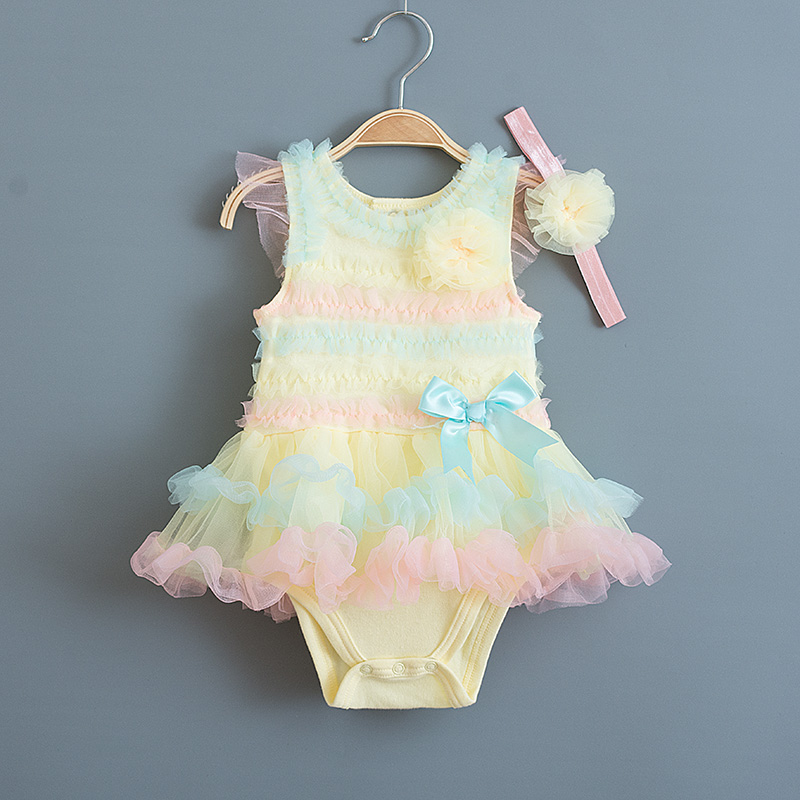 Candy Rainbow Summer Baby Girl Dress Ruffle Lace Tutu Fødselsdagsfest Kjoler til Princess Infant Girl Clothes med Headband