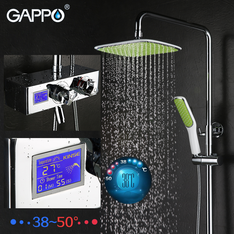 GAPPO Wall Mounted brass shower bathroom Shower faucet Mixer Taps Rainfall Faucet Set in big shower head shower system все цены