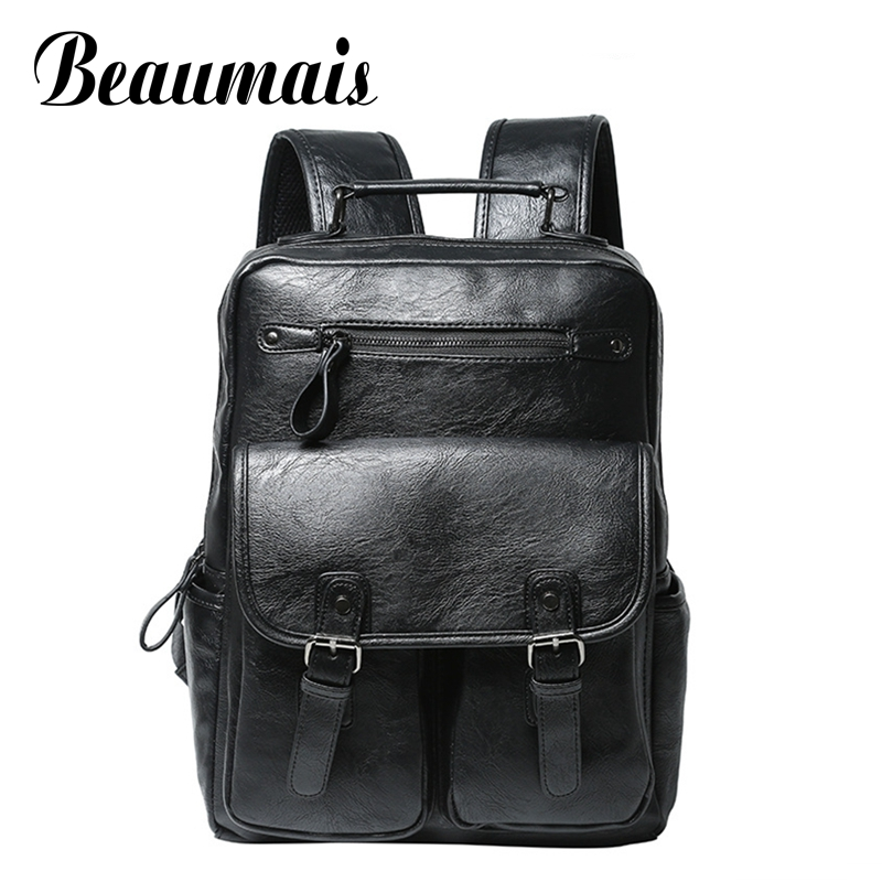 Beaumais Brand Men Casual Backpack Quality Leather Backpacks for Teenage  School Bags Travel Rucksack Mochila For Loptop DB6054 brand vintage 100% genuine cow leather womens daily school backpack ipad backpacks rucksack for travel casual mochila masculina