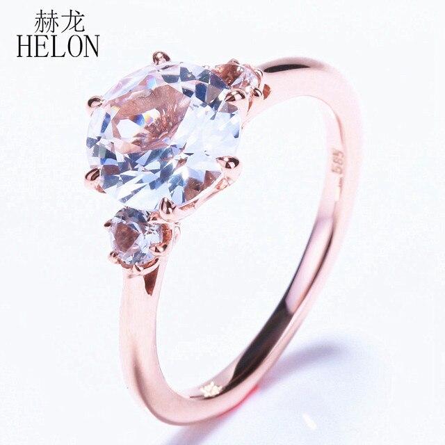 550323926ae4 ¡HELON especial! tres piedra 2.431ct Topacio blanco romántico compromiso  boda fino anillo para