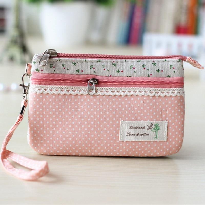 Pink Plaid Women Girl Canvas Floral Coin Purse Clutch Pouch Wallet
