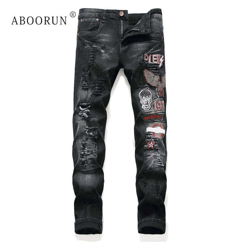 ABOORUN Men's Punk Jeans Fashion Skull Embroidery Ripped Jeans Skinny Pencil Jeans For Male R1037