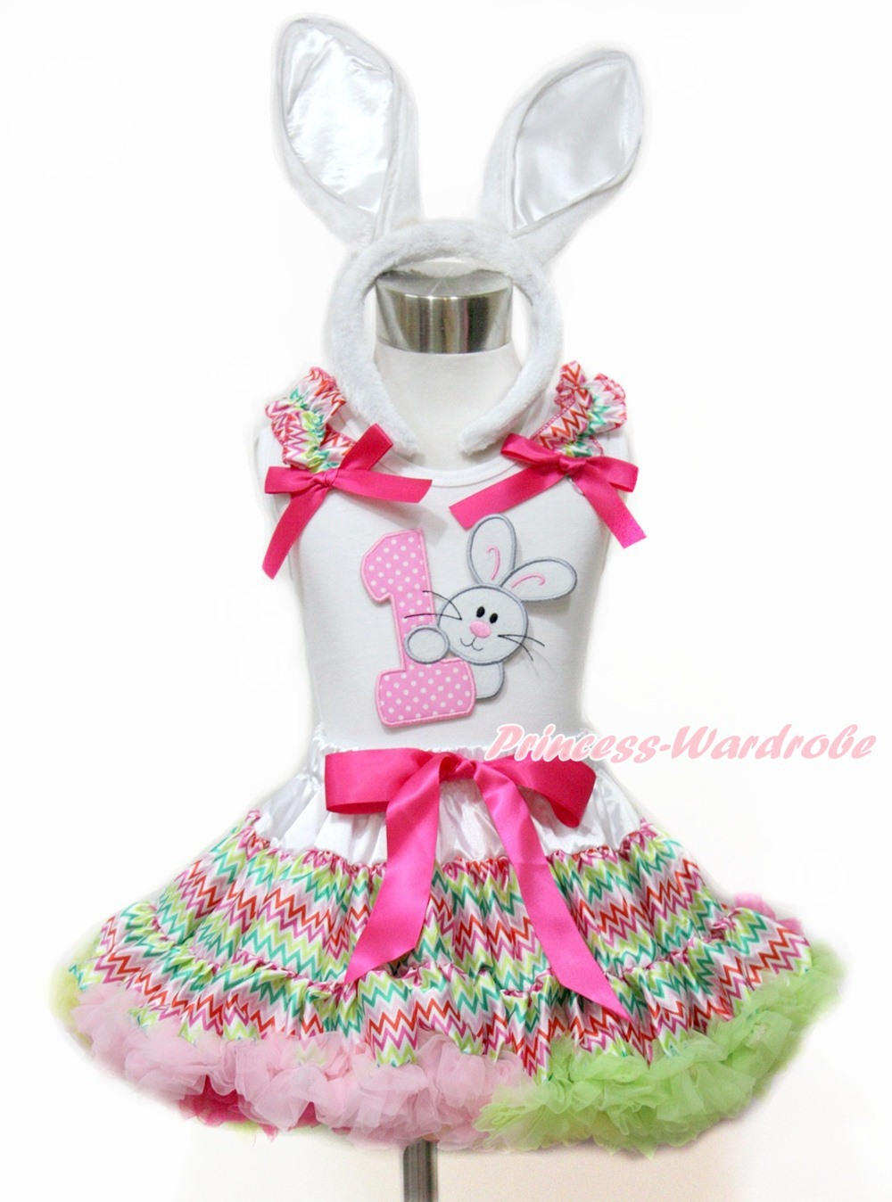 Easter Baby Girl Easter 1ST Rabbit Bunny White Top Rainbow Stripe Pettiskirt Set 1-2Y MAMG1096 rhinestone happy easter white top shirt hot pink bunny rabbit satin trim baby girl skirt set 1 8y mapsa0494