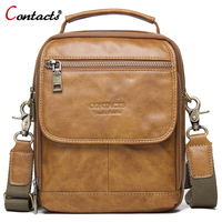 CONTACT'S Men's Genuine Leather Bag Women Messenger Handbags Crossbody Bags For Male Shoulder Bag Men Brand Leather Luxury 2018