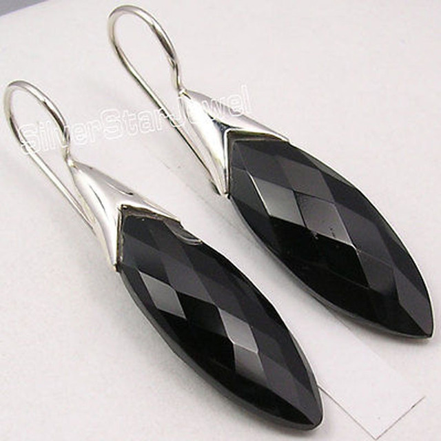 Pure Silver Dazzling BLACK ONYX LONG STONE Beautiful Dangle Earrings 4.4 CM