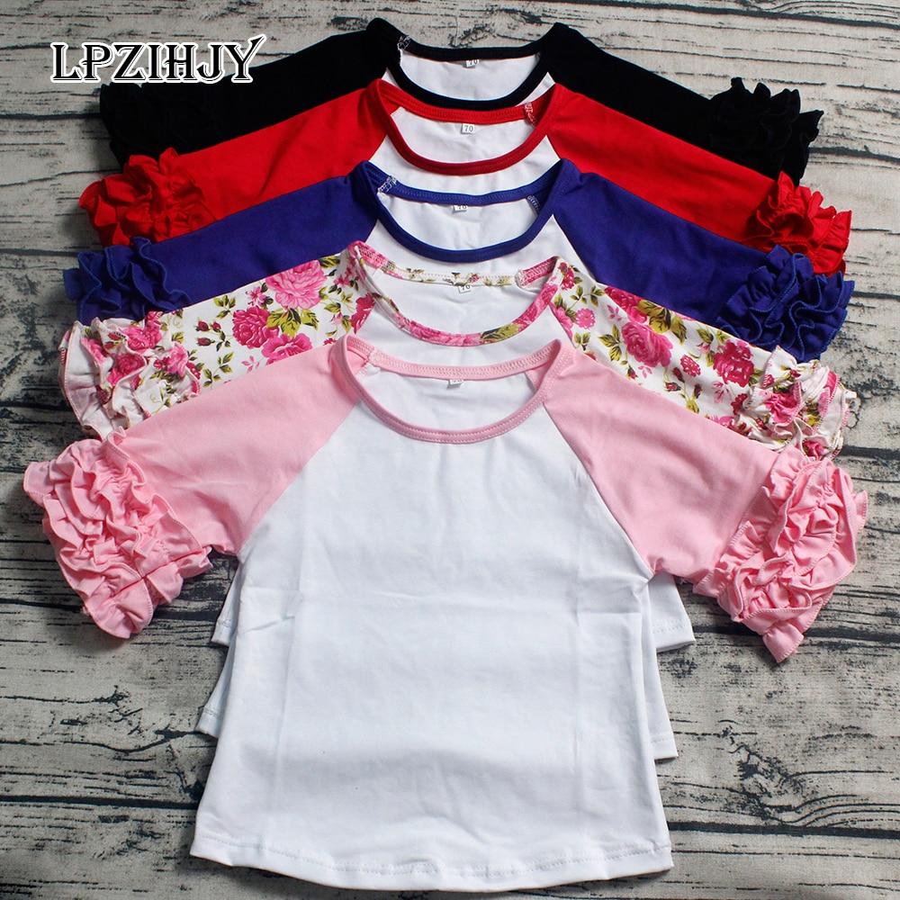 1-7T baby meisjes zomer tops half mouw icing t-shirt o hals ruche tee - Kinderkleding