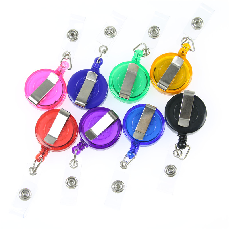 1 PC Black Retractable Pull Key Ring Chain Reel ID Lanyard Name Tag Card Badge Holder Reel Recoil Belt Key Ring Clip