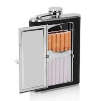 PIITILLEAR Multifunction Cigarette Case Men 6oz Flagon Small 1pc Stainless Steel Cigarette Box Metal Stickers Skin Portable
