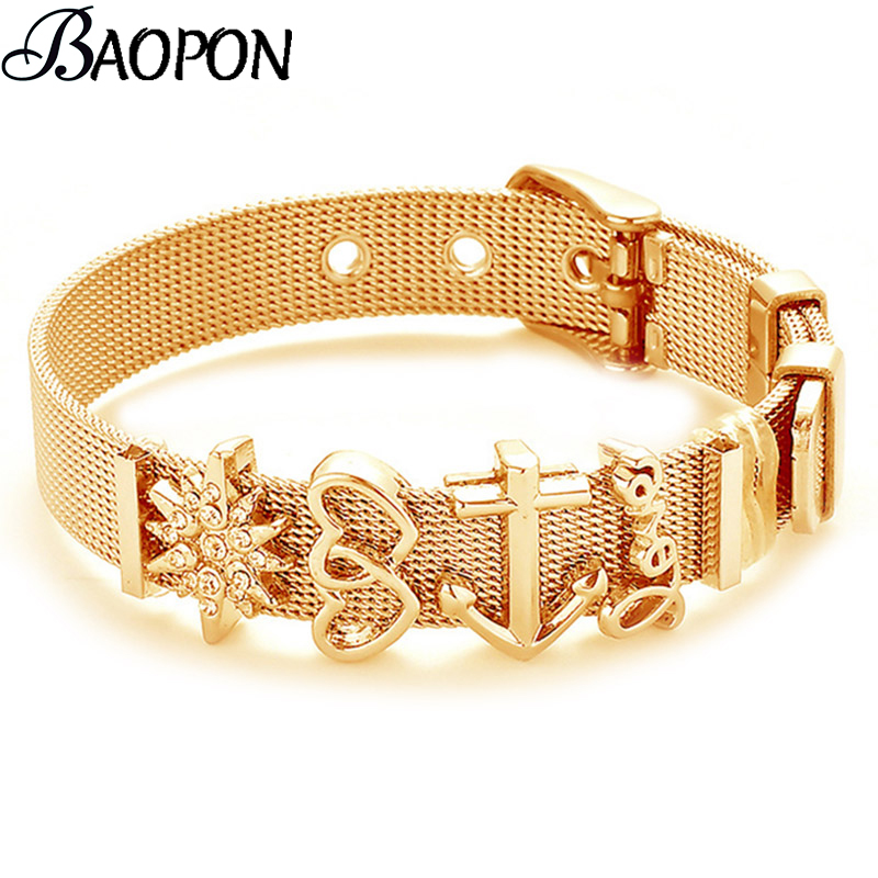 Fashion Stainless Steel Woman Men Bracelet Mesh Bracelet Set Crystal Heart Anchor Charm Fine Bracelet Bangle for Female Lover(China)