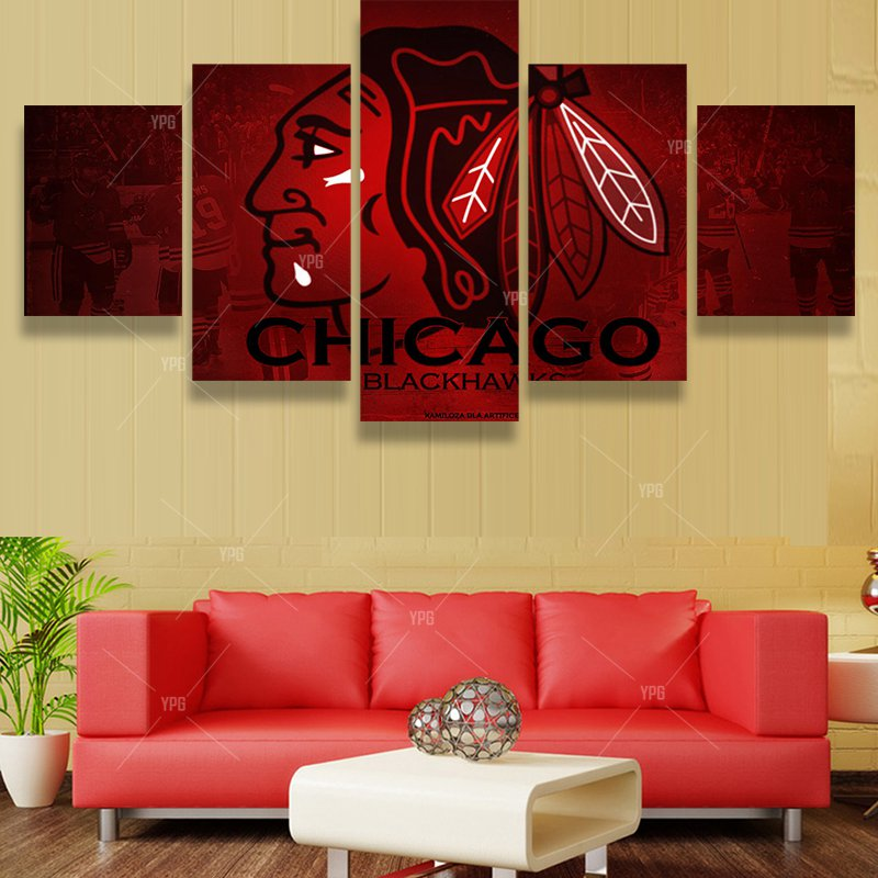 5 Pcs Red Chicago Blackhawks Logo Team Fans Oil Painting On Canvas Modern Home Pictures Prints