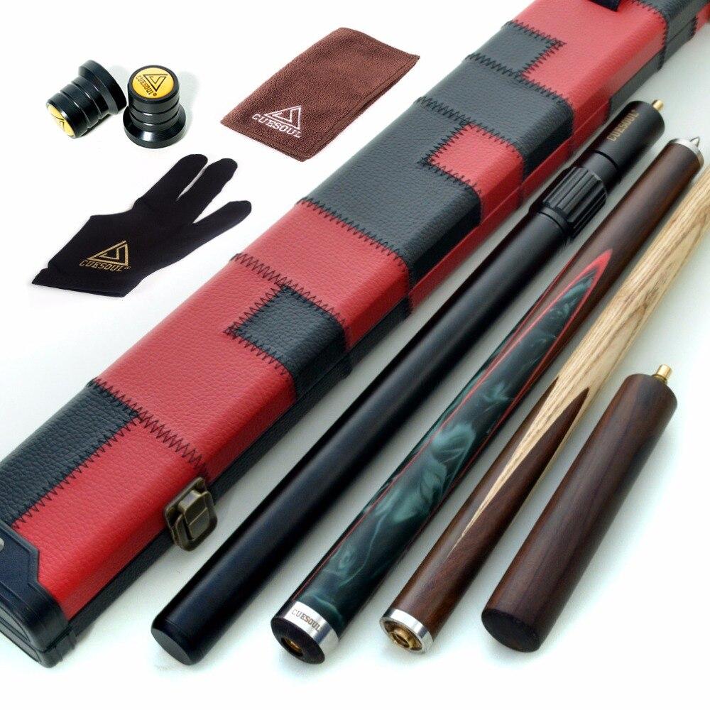 CUESOUL 57 Main-Spliced 3/4 Jointé Snooker Cue avec 2 Extensions Emballé en Similicuir Cas De Repère