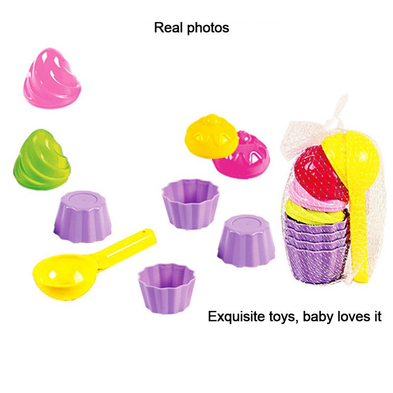 9pcs/set Kids Ice Cream  Shape Baby Beach Sand Toys Small Cake Mould Spoon Pudding Beach Play Sand And Snow Play