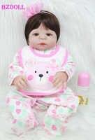 55cm Full Silicone Body Reborn Girl Baby Doll Toys 22inch Newborn Princess Toddler Babies Doll Birthday Gift Child Shower Bathe